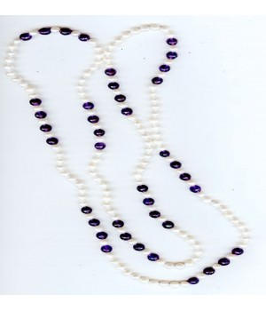 "48"" 8mm faceted gemstones with 6-7mm circle fresh water pearl endless necklace"