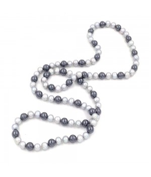 """48"""" 11-12mm grey fresh water pearl with 12mm round hematite bead endless necklace"""