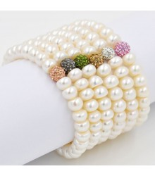 "7.5"" 8-9mm white button freshwater pearl with color crystal bead stretch bracelet"