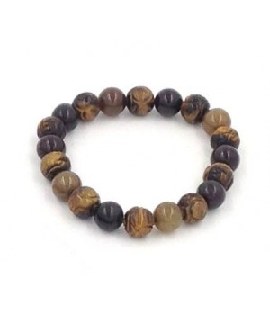 "8"" 10mm serpentine bead with craved tigereye bead stretch bracelet"