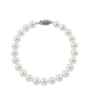 """7.5"""" 7-8mm freshwater pearl bracelet with silver rhodum clasp"""