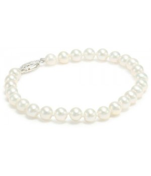 "7.5"" 5.5-6mm white freshwater pearl bracelet with silver rhodium clasp"