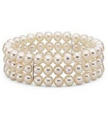 "3 rows 7.5"" 7-8mm white freshwater pearl stretch bracelet"
