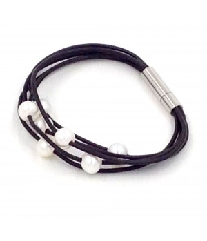 """7.5"""" 5 rows 1.5mm round leather with 7 white pearls bracelet stainless steel clasp"""