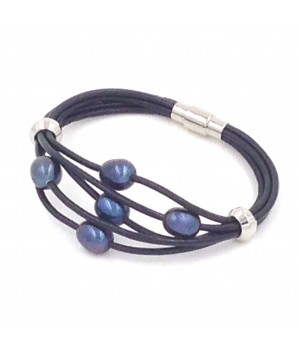 "7.5"" 5 rows 2mm round leather with 5 blue pearls bracelet stainless steel magnetic clasp"