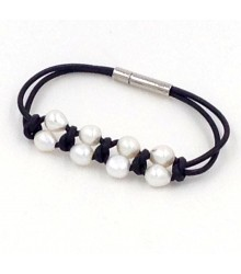 "7.5"" 2 rows 2mm round leather with 10 pc white pearls bracelet stainless steel clasp"