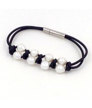 """7.5"""" 2 rows 2mm round leather with 10 pc white pearls bracelet stainless steel clasp"""
