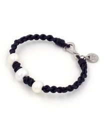 "7.5"" 1.5mm black leather with 3 pc 9-10mm white fwp bracelet stainless steel clasp/charm"