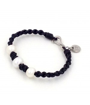 """7.5"""" 1.5mm black leather with 3 pc 9-10mm white fwp bracelet stainless steel clasp/charm"""