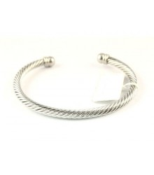 Stainless steel round cable cuff bracelet