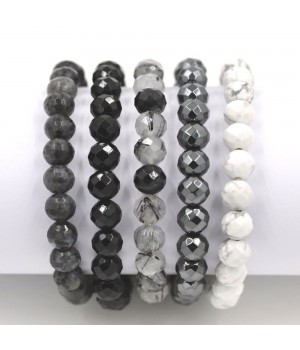 "7.5"" 8mm multi color gemstone faceted bead stretch bracelet set"