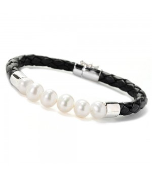 7-8mm freshwater pearl braided bracelet with silver Magnetic clasp