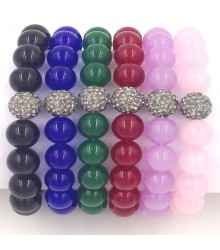 "7.5"" 10mm dyed quartz smooth round bead with 10mm black crystal stretch bracelet"