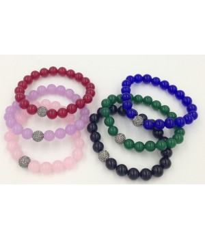 """7.5"""" 10mm dyed quartz smooth round bead with 10mm black crystal stretch bracelet"""
