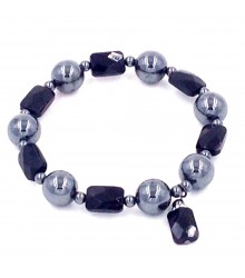 """8"""" hematite bead with faceted onyx rectangle stretch bracelet"""