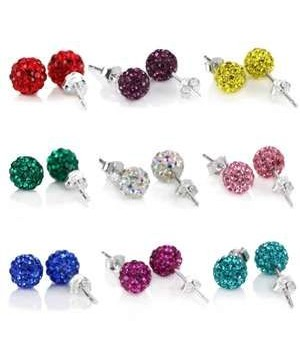 925 silver 7-8mm crystal ball post earring