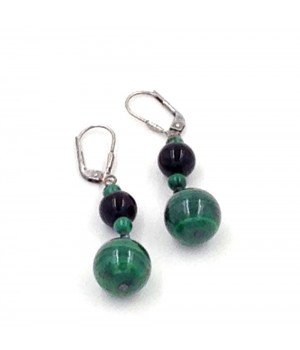 925 Silver onyx and malachite earring