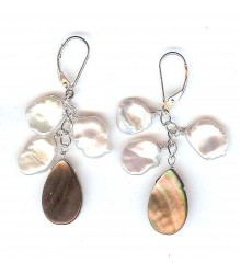 925 Silver white keishi freshwater pearl with mother of pearl tear drop earring