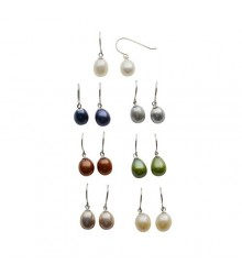 925 silver 7-8mm dyed 7 color freshwater pearl drop earring set