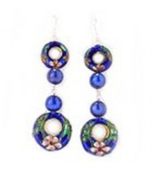 925 Silver blue cloisonne dunut with blue freshwater pearl earring