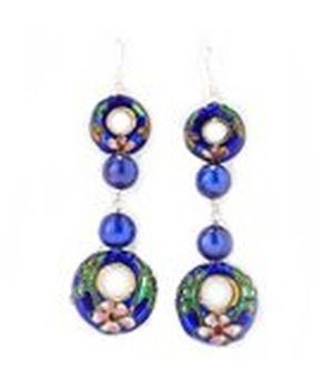 925 Silver 9-10mm dyed blue freshwater pearl/cloisonne earring