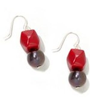 925 Silver black freshwater pearl with seabamboo cube earring