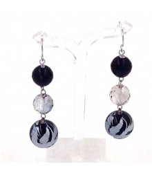 925 Silver onyx, silver crystal and carved phoenix e earring
