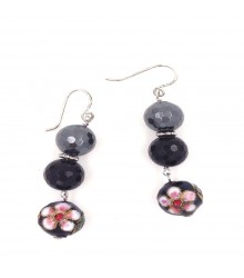 925 Silver hematite, onyx and cloisonne earring