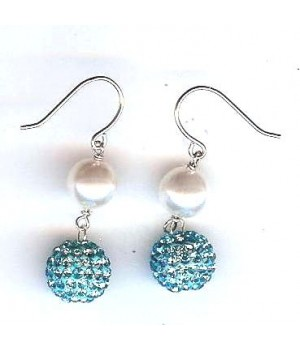 925 silver 8mm white shell pearl with 10mm crystal ball earring