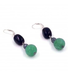 925 silver onyx nugget with carved green aventurine earring