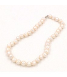 "925 Silver 18"" 10-11mm white pearl necklace"