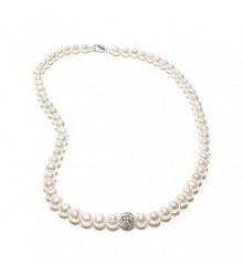 "18"" 7-8mm white freshwater pearl with crystal bead necklace"