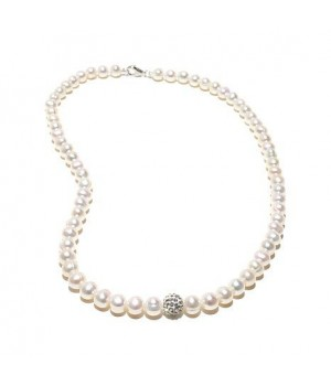 """18"""" 7-8mm white freshwater pearl with crystal bead necklace"""