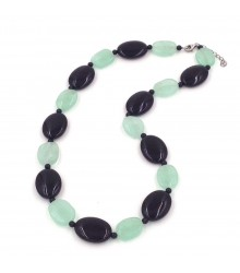 """925 Silver rhodium 20""""+2"""" fluorite and onyx oval necklace"""