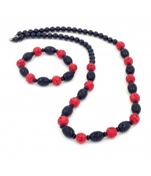 """28""""+2"""" Onyx bead with cinnabar bead necklace with matching stretch bracelet set"""