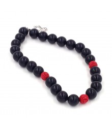 "925 Silver rhodium 17"" + 3"" 16mm Onyx bead with cinnabar necklace"