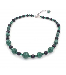 "16""+ 3"" multi size malachite bead and onyx bead necklace"