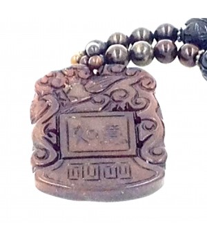 """24"""" Serpentine bead with carved onyx bead/nugget necklace with pendant"""