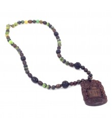 "24"" Serpentine bead with carved onyx bead/nugget necklace with pendant"