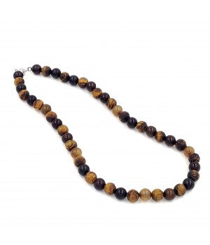 "18"" 10mm serpentine bead with carved tigereye bead necklace"