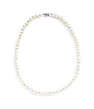 "925 Silver 18"" 7-8mm white fresh water pearl necklace"