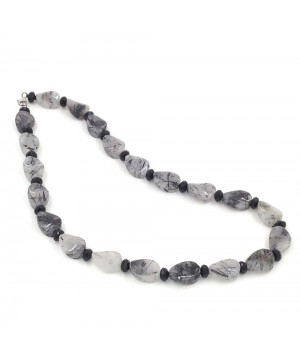 "20"" Black rutilated quartz twisted oval/onyx roundel necklace"