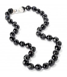 "24""12mm faceted onyx bead with silver magnetic clasp necklace"