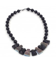"""925 Silver rhodium 20"""" 12mm faceted onyx bead with drusy and onyx fan necklace"""