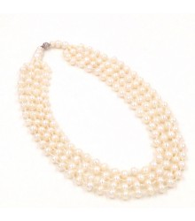 "925 Silver  20"" - 25"" 4X1 8-9mm white button freshwater pearl necklace"