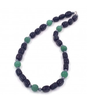 "21"" Onyx nugget/hematite/carved green aventurine necklace"