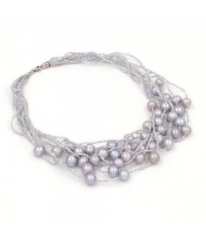 925 Silver grey freshwater pearl woven cord necklace