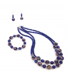 "925 silver 2x1 22"" - 22.5"" silver crystal cut roundel / blue freshwater pearl / blue cloisonne necklace/bracelet and earring set"