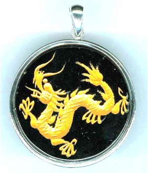 925 silver 35mm carved dragon onyx pendant