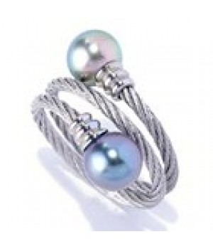 Stainless Steel 3 rows twisted wire ring with 2 pc freshwater pearl